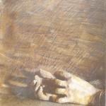 Baranyay András Kéz barna háttérrel 40x28cm vegyes tech 1985
