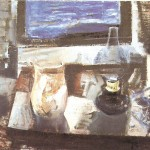 Baranyay András csendélet petróleumlámpával 1964 olaj vászon 50x60cm